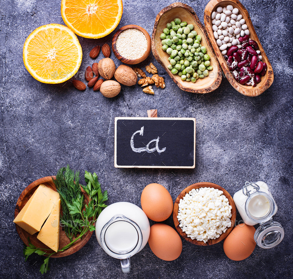 Set of food that is rich in calcium. - Stock Photo - Images