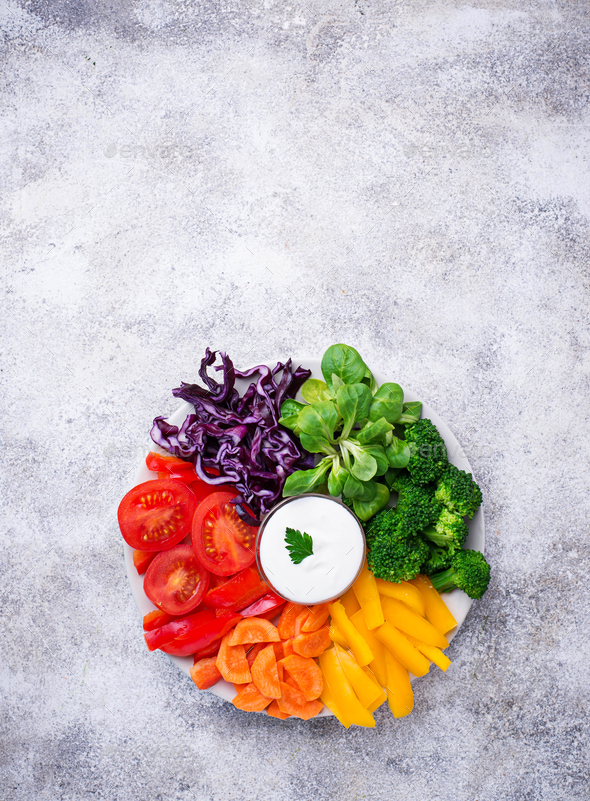 Healthy salad from rainbow vegetables - Stock Photo - Images