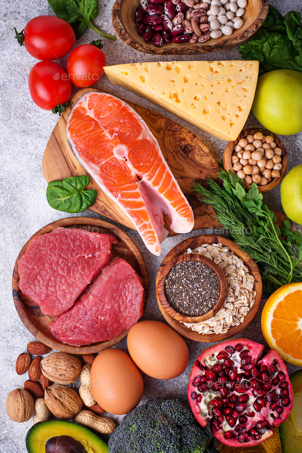 Meat, fish, legumes, nuts and vegetables. - Stock Photo - Images