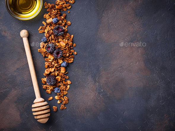 Healthy homemade granola with berries - Stock Photo - Images