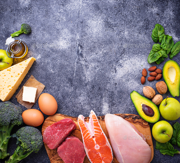 Healthy low carbs products. Ketogenic diet. - Stock Photo - Images