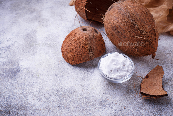 Fresh coconut and coconuts oil - Stock Photo - Images