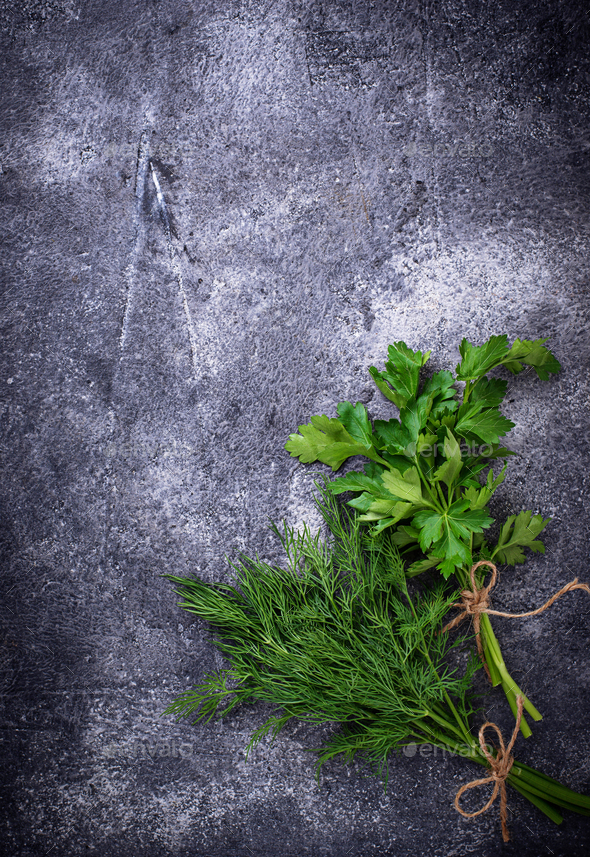 Bunch of fresh parsley and dill - Stock Photo - Images