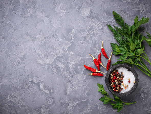 Mix of eppers, salt and parsley - Stock Photo - Images