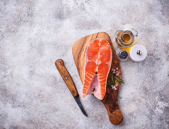 Fresh salmon steak with spices - Stock Photo - Images