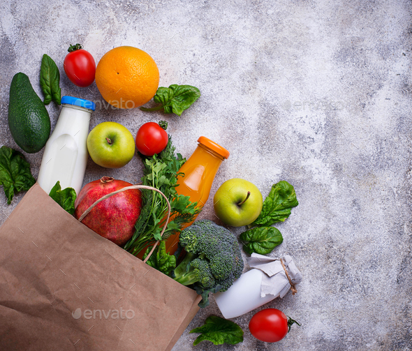 Fresh farm products in paper bag. - Stock Photo - Images