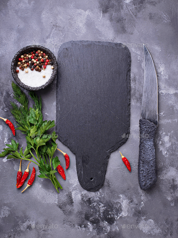 Herbs, spices and slate cutting board - Stock Photo - Images