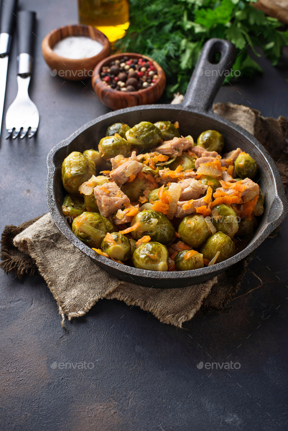 Roasted brussels sprouts with meat - Stock Photo - Images