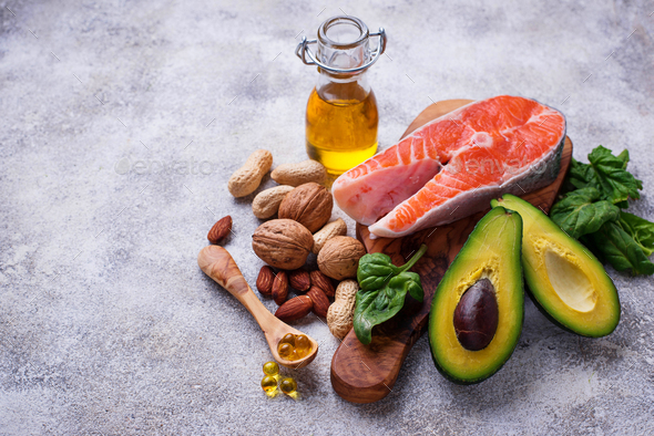 Selection of healthy fat and omega 3 sources. - Stock Photo - Images
