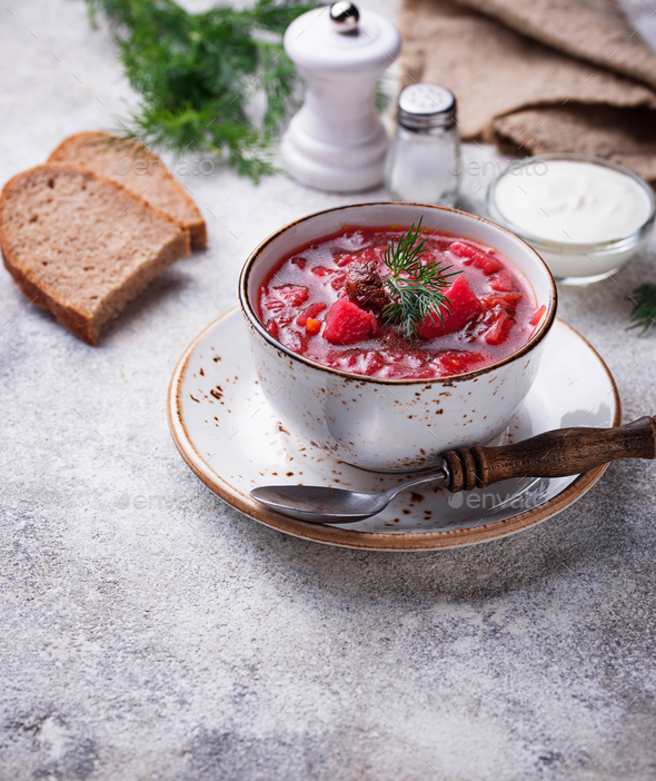 Traditional Ukrainian beetroot soup borsch - Stock Photo - Images