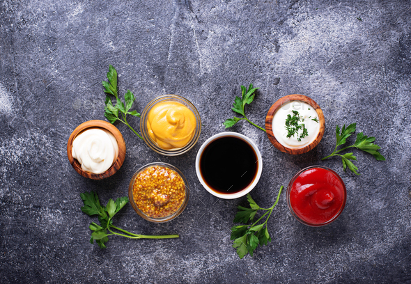 Set of different sauces and spices - Stock Photo - Images
