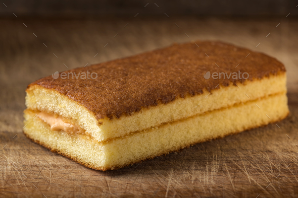 Sponge cake with fruit cream - Stock Photo - Images
