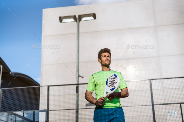 Sportsman playing padel game - Stock Photo - Images