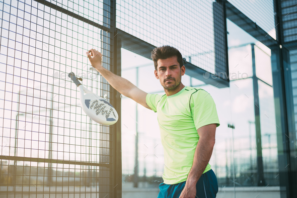 Sport's man resting from playing padel - Stock Photo - Images
