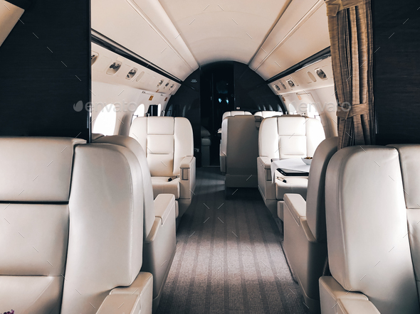 Interior of a private luxury jet - Stock Photo - Images