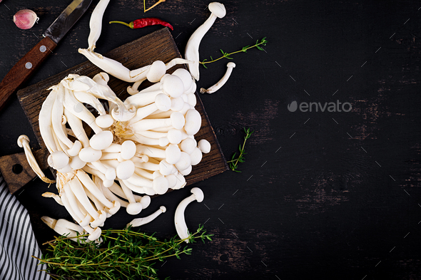 Raw mushrooms. Shimeji mushroom. Enokitake. Asian cuisine.  Top view - Stock Photo - Images