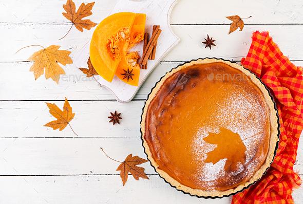 American homemade pumpkin pie with cinnamon and nutmeg, pumpkin - Stock Photo - Images