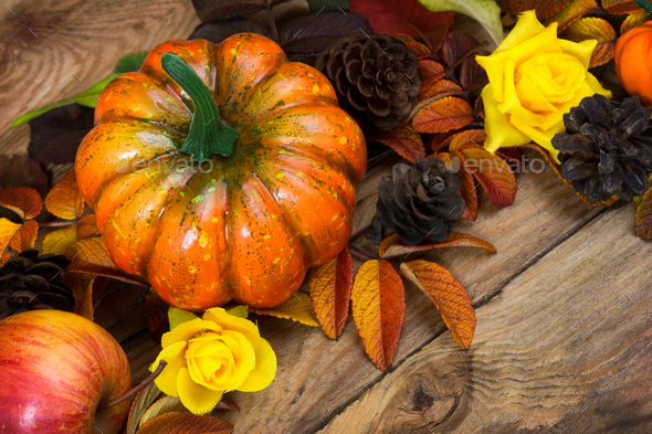 Fall pumpkin, cones, yellow roses arrangement - Stock Photo - Images