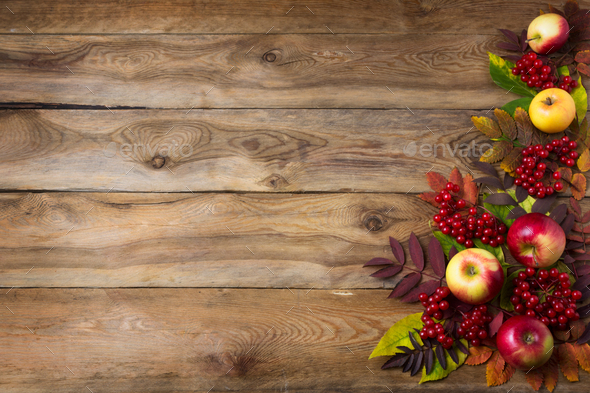 Rustic fall background with red leaves and apples - Stock Photo - Images