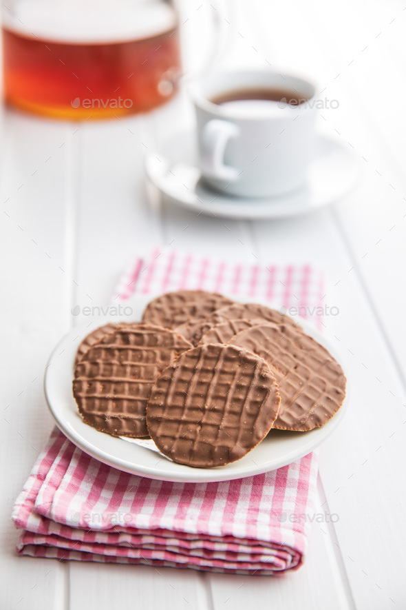Sweet chocolate biscuits. Chocolate cookies. - Stock Photo - Images