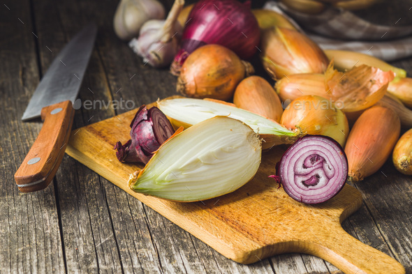 Halved fresh onions - Stock Photo - Images