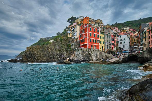 Riomaggiore village, Cinque Terre, Liguria, Italy - Stock Photo - Images