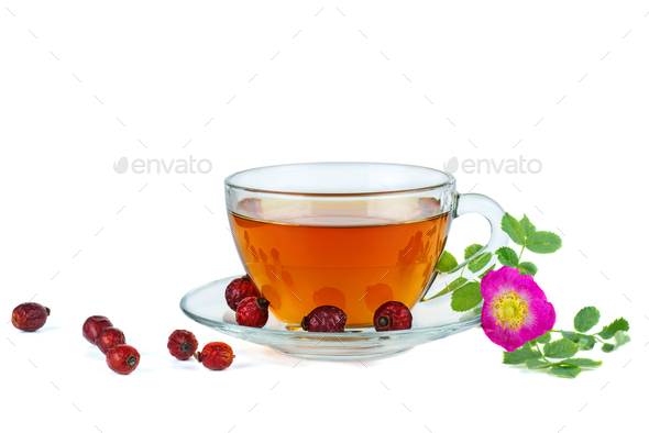 Herbal tea, dried hips berries and dog-rose flower - Stock Photo - Images