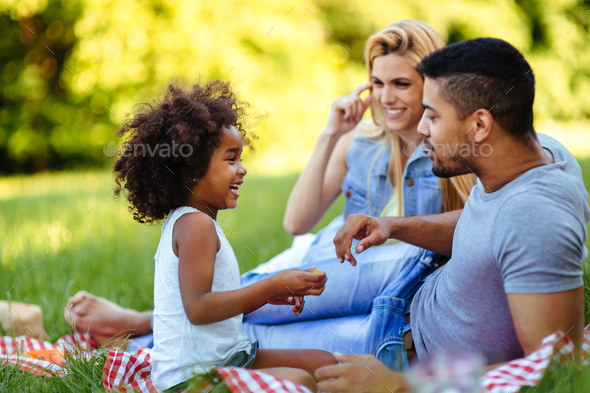 Happy family having fun time on picnic - Stock Photo - Images