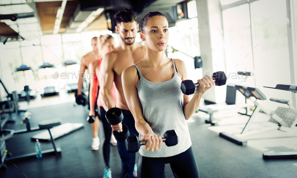 Group of people have workout in gym - Stock Photo - Images