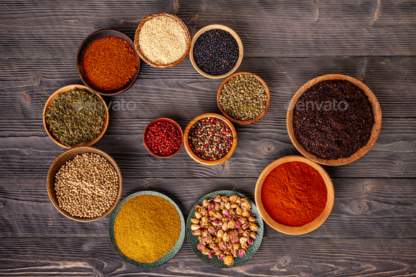 Variety of spices and herbs - Stock Photo - Images