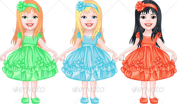 Set of Charming Little Girls in Fancy Dresses - People Characters