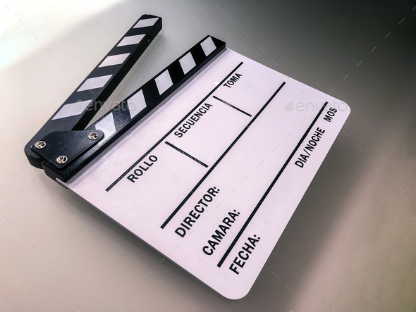 White blank clapperboard on set - Stock Photo - Images