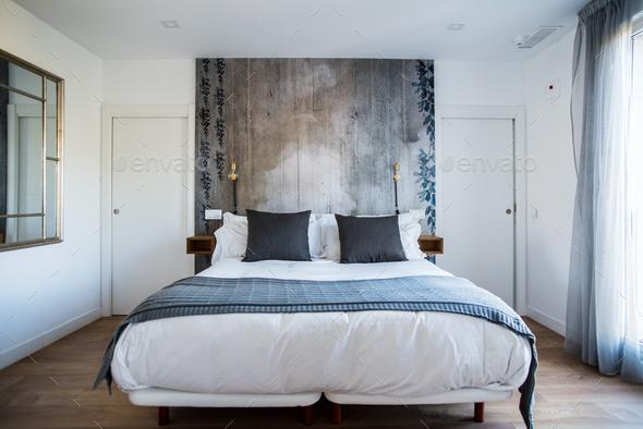 Beautiful modern bedroom interior design - Stock Photo - Images