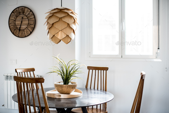 Interior design house and modern wooden table and chair - Stock Photo - Images