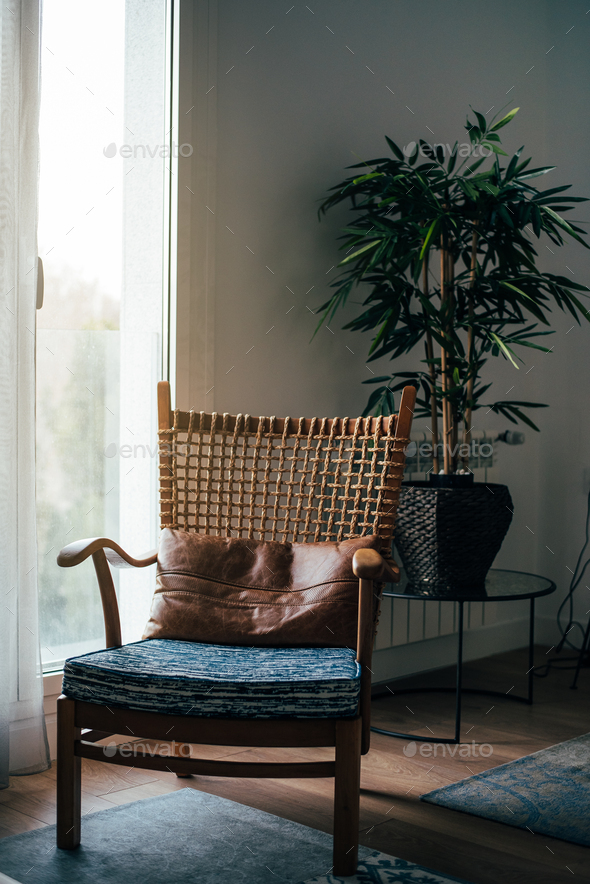 Interior design house and modern wooden chair - Stock Photo - Images