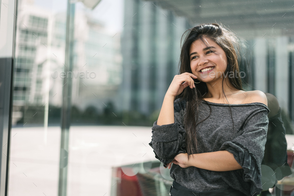 happy young woman portrait close up smiling with sunglasses - Stock Photo - Images