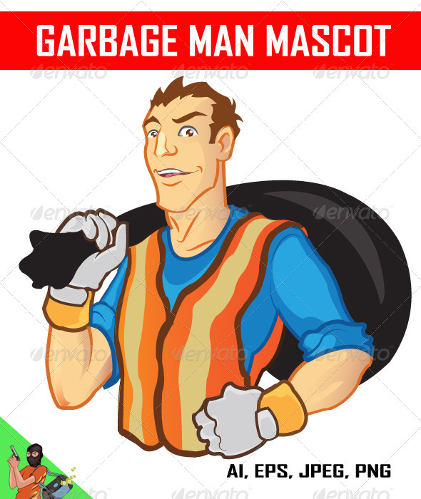 Garbage Man Mascot - People Characters