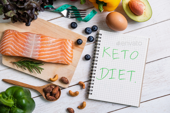 Healthy eating food with notebook, Ketogenic diet concept, Top view - Stock Photo - Images