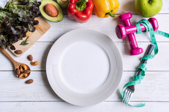 Healthy eating food with empty dish and copy space, Diet plan concept, Top view - Stock Photo - Images
