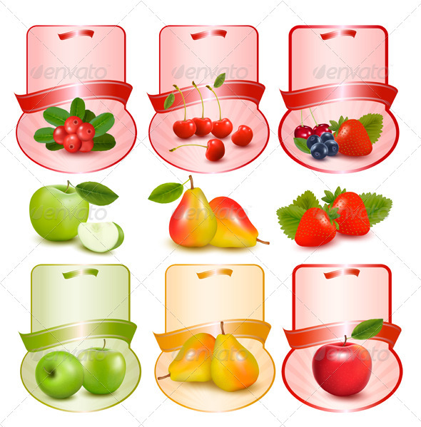 Set of Labels with Berries and Fruit Vector - Food Objects