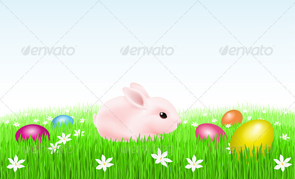 Bunny With Easter Eggs - Characters Vectors