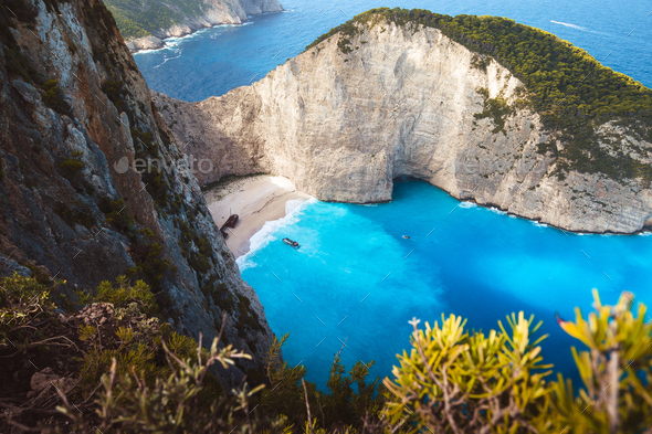 Greece, Zakynthos, Mystic stranded panagiotis freightliner in navagio beach in dawning mood - Stock Photo - Images