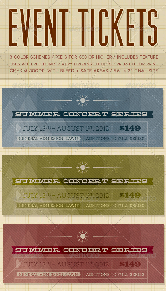 Event Tickets - Miscellaneous Print Templates