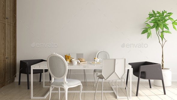 Interior of modern dining room 3D rendering - Stock Photo - Images