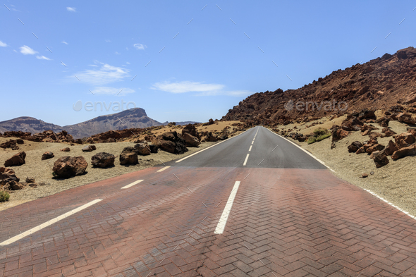 mountain road in Teide National Park. Tenerife island - Stock Photo - Images