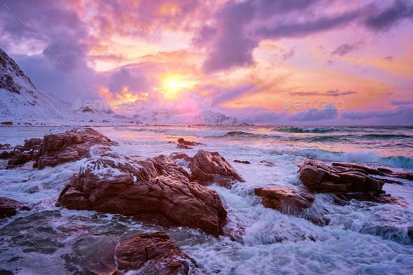 Norwegian Sea waves on rocky coast of Lofoten islands, Norway - Stock Photo - Images