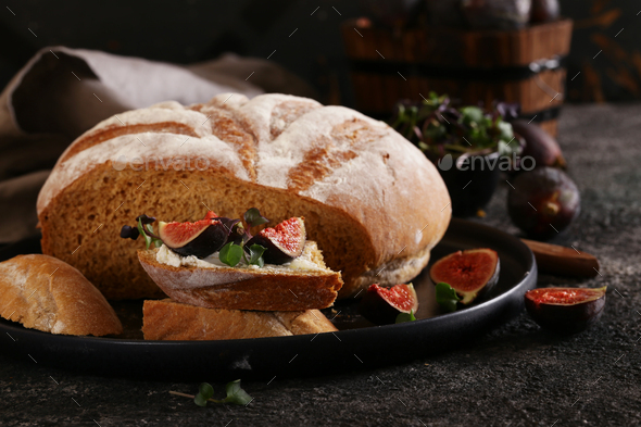 Sandwich with Cheese and Figs - Stock Photo - Images