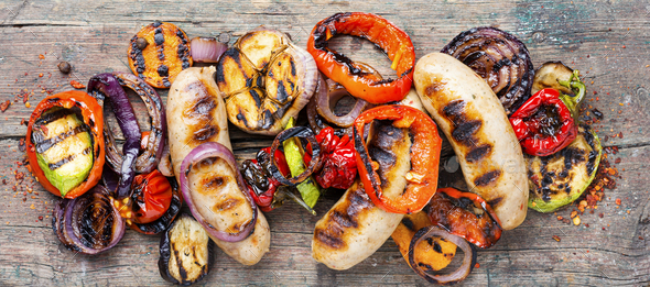 Grilled sausages with vegetables - Stock Photo - Images