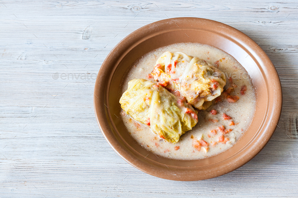 top view of stewed cabbage rolls on gray table - Stock Photo - Images