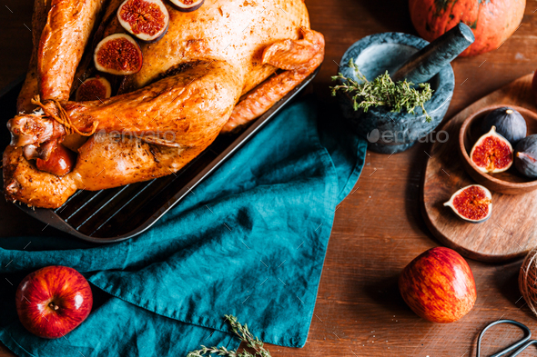 Top view of a festive table for Thanksgiving Holiday - Stock Photo - Images